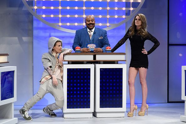 LIVE 'Kristen Stewart' Episode 1717 Pictured Kate McKinnon as Justin Bieber Kenan Thompson as Steve Harvey host Kristen Stewart as Gisele Bündchen...