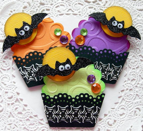 Halloween Paper Cupcake EmbellishmentsSet of 3 by sarasscrappin, $4.49