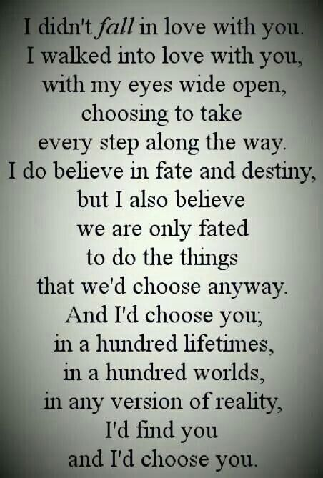And I'd choose you... In a hundred lifetimes...