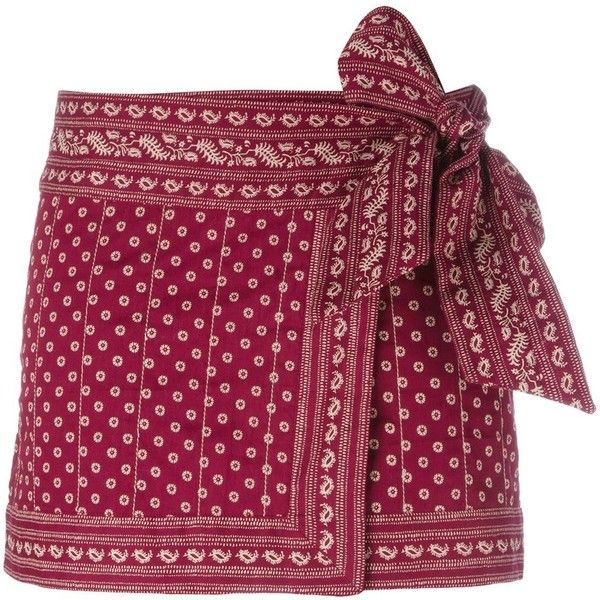 Isabel Marant Étoile 'Lyne' wrap skirt ($205) ❤ liked on Polyvore featuring skirts, mini skirts, red, red skirt, bandana print skirt, purple skirt, short red skirt and short wrap skirt