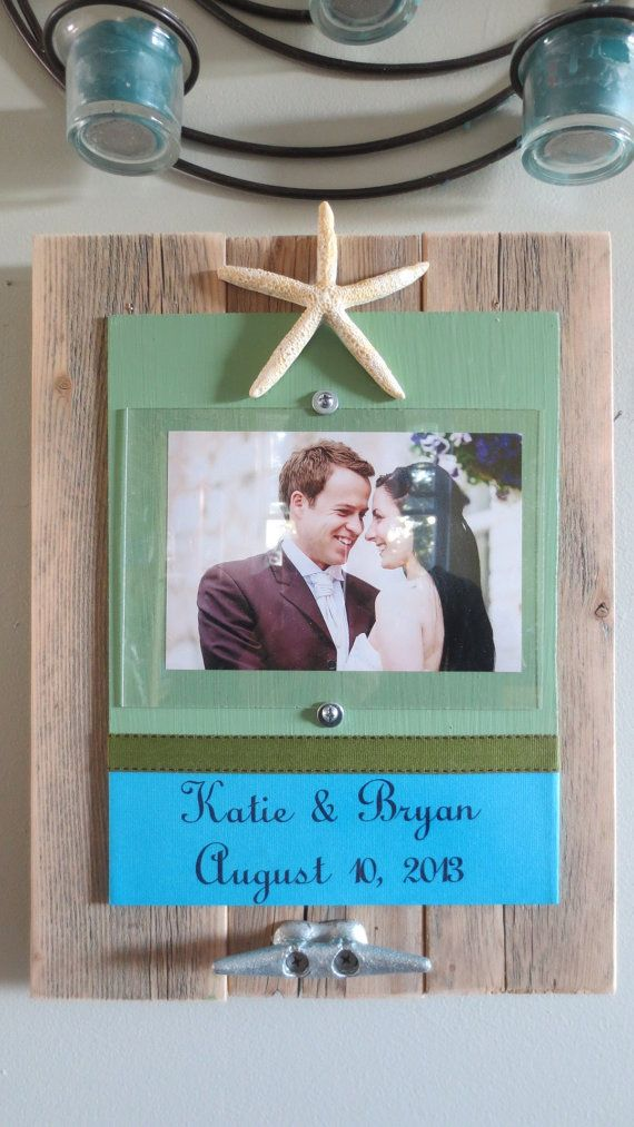 Custom Name and Date Wedding Picture Frame  Recycled Wood Starfish Cleat  Beach Wedding Decor 5x7 picture Custom Frame ocean decor Green on Etsy, $55.00