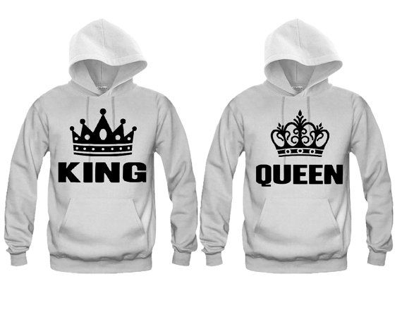 couples matching hoodies king ad queen white by. Black Bedroom Furniture Sets. Home Design Ideas
