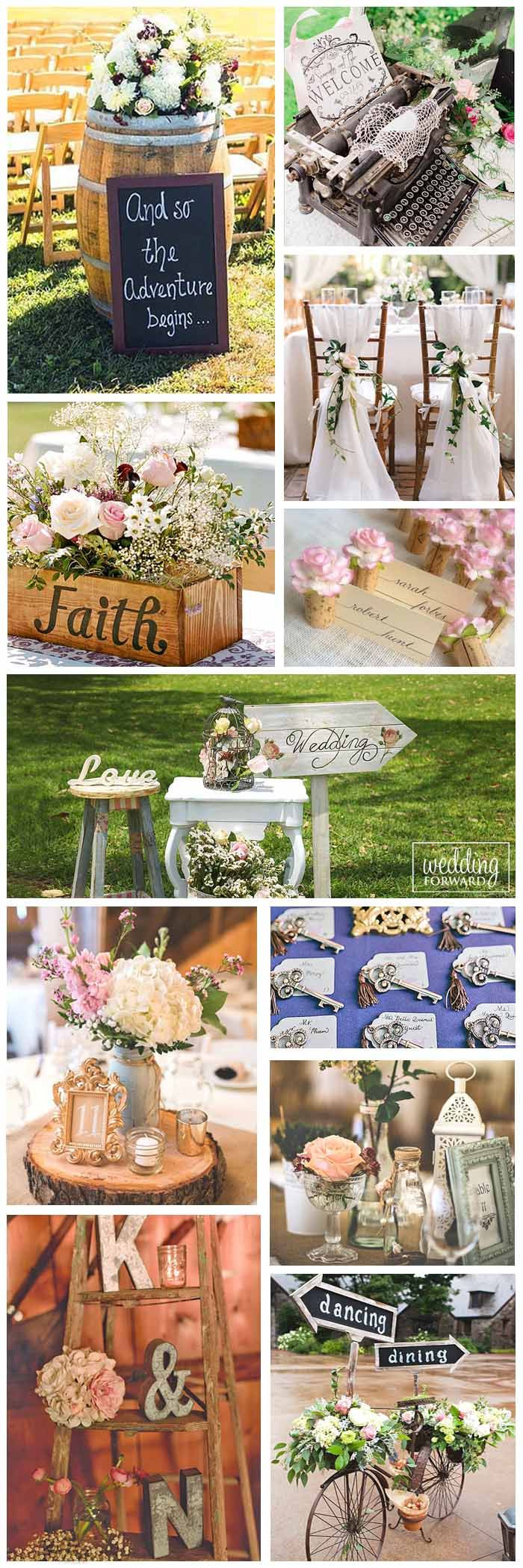 Shabby & Chic Vintage Wedding Decor Ideas ❤ Shabby & chic vintage weddings always look great. Get inspired for decorating centerpieces, chairs, place settings, wedding card boxes, vases and mason jars. See more: http://www.weddingforward.com/shabby-chic-vintage-wedding-decor-ideas/ #weddings #decorations #vintage