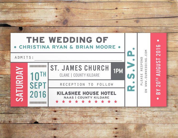 Vintage ticket wedding invitation by Little Ivory Wedding Stationery UK & Ireland