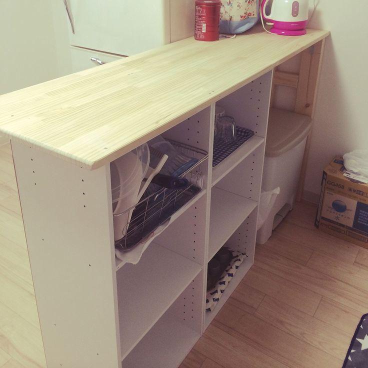 キッチンカウンターDIY/人任せ♡笑/カラーボックス DIY/DIY…などのインテリア実例 - 2015-08-12 17:17:05 | RoomClip(ルームクリップ)