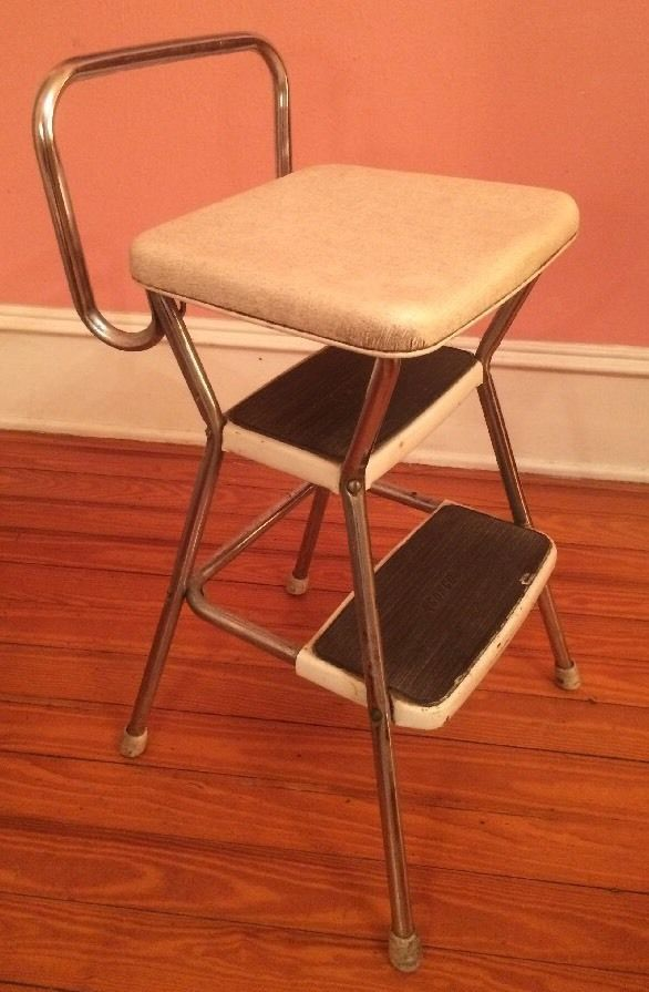 Vintage COSCO Steel White u0026 CHROME METAL Kitchen Step Stool Seat Mid Century & The 25+ best Kitchen step stool ideas on Pinterest | Short person ... islam-shia.org