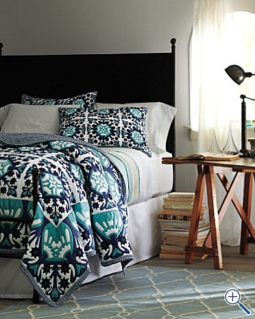 Love this turquoise and navy blue patterned bedding from @Garnet Hill