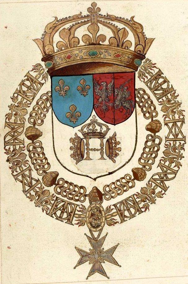 «Recueil de tous les chevalliers de l'Ordre du Sainct-Esprit, depuis l'institution jusques en la présente année 1623, recueillis par le sieur de Valles, chartrain, résident à Lyon, secrettaire de la Chambre de Sa Majesté Louis treiziesme, à présent regnant», par le sieur de Valles, 1623 [BNF Ms Fr 2769]. -- f°9r «Henry troisiesme du nom, Tres chrestien Roy de France et de Pologne. Instituteur de l'ordre du Sainct Esprit».