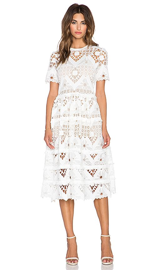 Alexis Benati Crochet Midi Dress in White Crochet | REVOLVE