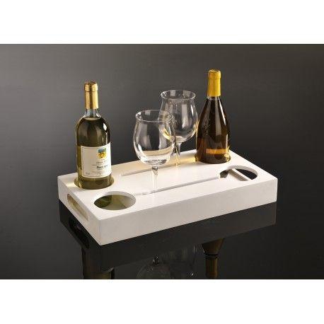 vassoio porta bottiglie e bicchieri NAPA multistrato laccato bianco