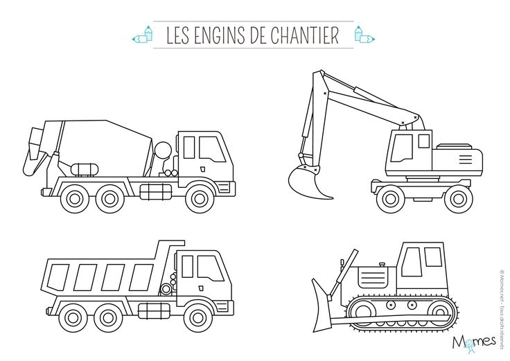 Pour les petits fans de camions en tous genres, voici les engins de chantier à imprimer et à colorier !