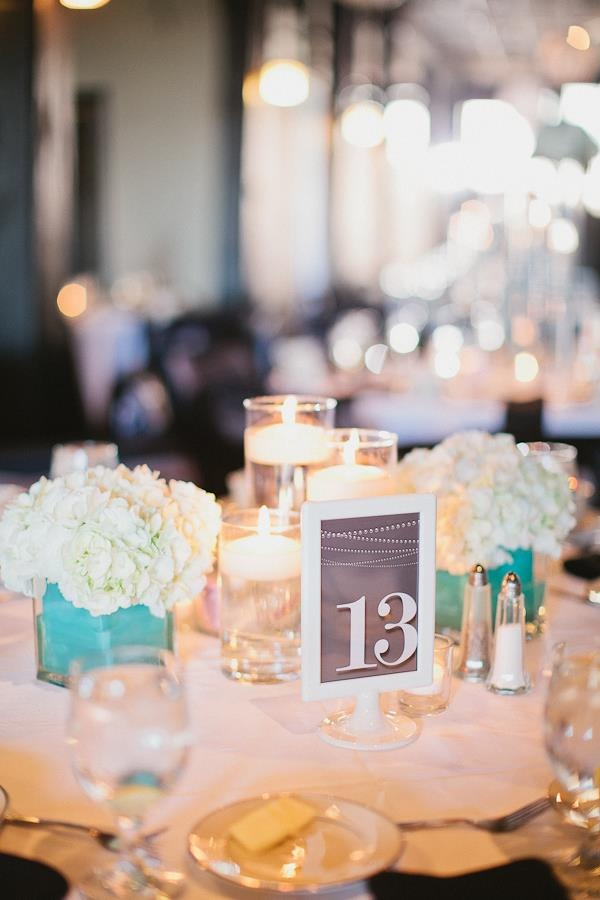White and Tiffany Blue centerpieces we did