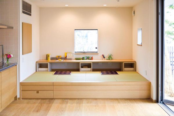 Desk and play area with tatami mats