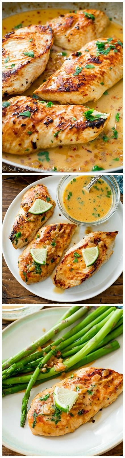 Skillet Chicken with Creamy Cilantro Lime Sauce -- an easy-peasy dinner idea!  http://sallysbakingaddiction.com/2015/07/08/skillet-chicken-with-creamy-cilantro-lime-sauce/