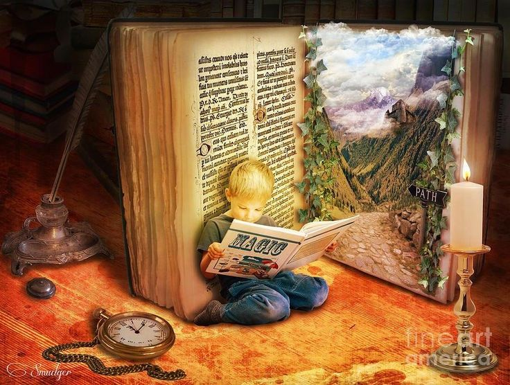 there's magic when you open a book  The Book of Magic © Eugene JAMES (Artist. Birmingham, UK).