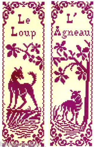 Grille pt de croix 2 MARQUE-PAGE - Le LOUP & L'AGNEAU - réf : 6504-4