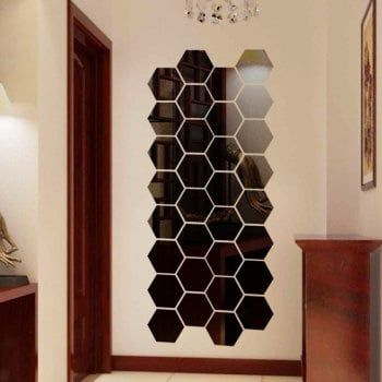 Diy Hexagon D Art Mirror Wall Stickers For Home Wall Decal In