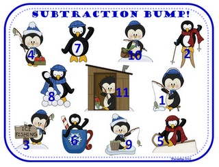 Winter-themed subtraction game.