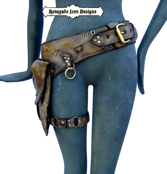 leather, holster bag, burningman, mad max, desert punk, distressed, Unisex: Renegade Icon Designs