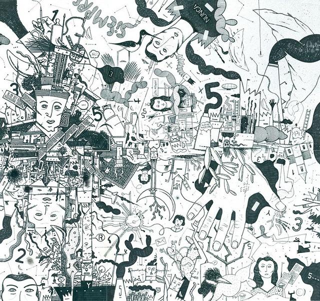 El dibujo expandido por la sexta hoja.  Tinta sobre hojas Fto. A4. Yamandú Cuevas 2012.