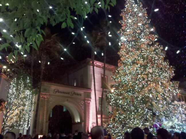 This is the Christmas tree at #Paramount #Studios in Hollywood as it is officially lit right in front of the historic Bronson Gate.  http://celebhotspots.com/hotspot/?hotspotid=6497&next=1
