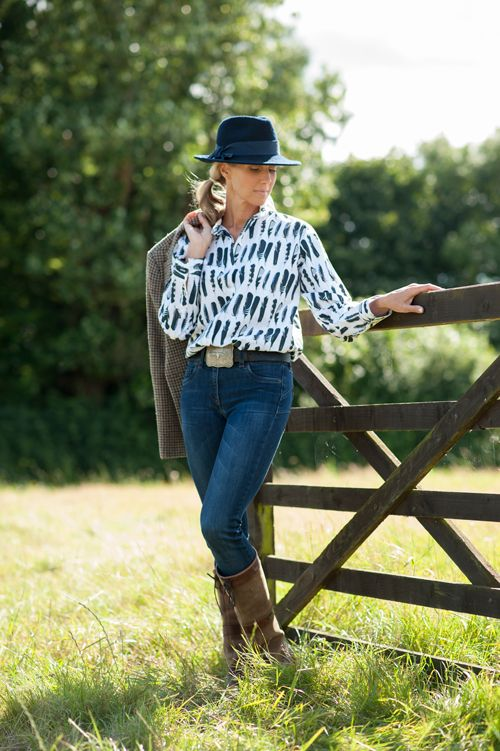 Navy trilby made in UK by Holly Young, Jay feather cotton shirt by Cashmere & Cotton  #womens #luxury #country #fashion #fall #winter #2016 #2017 #navy #hats #trilby #feather #print