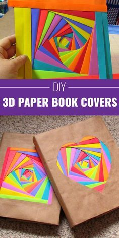 Cool Arts and Crafts Ideas for Teens, Kids and Even Adults | Cheap, Fun and Easy DIY Projects, Awesome Craft Tutorials for Teenagers | School, Home, Room Decor and Awesome Gift Ideas | 3D-Paper-Bookcovers | http://diyprojectsforteens.com/arts-and-crafts-ideas-for-teens