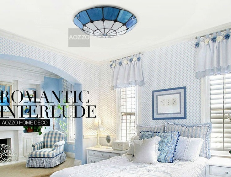 Bedroom Mediterranean Style Blue And White Ceiling Lights