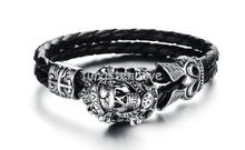 """In acciaio inox da uomo """"love"""" braccialetti del cranio per gli uomini polsino silver black gothic croce intrecciato in pelle regalo di compleanno(China (Mainland))"""