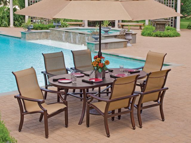 Castelle Grand Regent Sling Has Clean Lines And Distinctive Table Tops With Top Quality Low