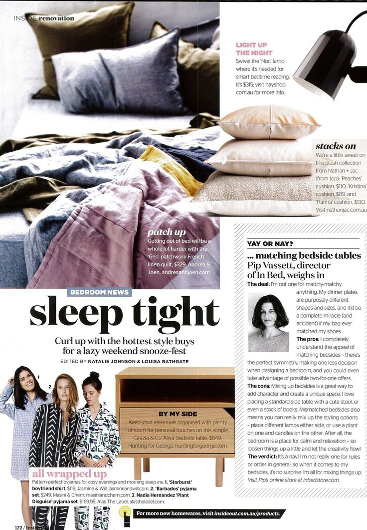 Andrea & Joen French Bed Linen in Inside Out Magazine