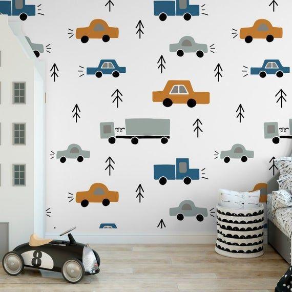 Childrens Wallpaper Kids Nursery Wallpaper Decor Traffic Decor Playroom Wall Design Boys Room Wallpaper Nursery Wallpaper Boy Nursery Wallpaper