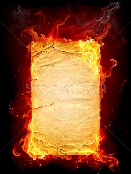 Stock fotó: égő · papír · tűz · könyv · háttér · fekete