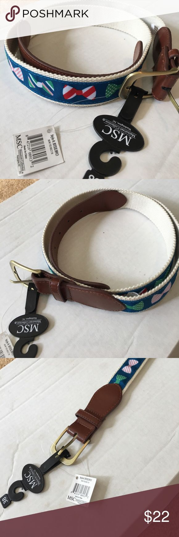 Men's New Bow tie Belt Size 38 Preppy New. Fabric with leather accents. Tags attached. Clean home mainstream collection Accessories Belts