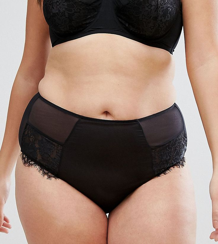 ASOS CURVE Olivia Lace French Underwear - Black