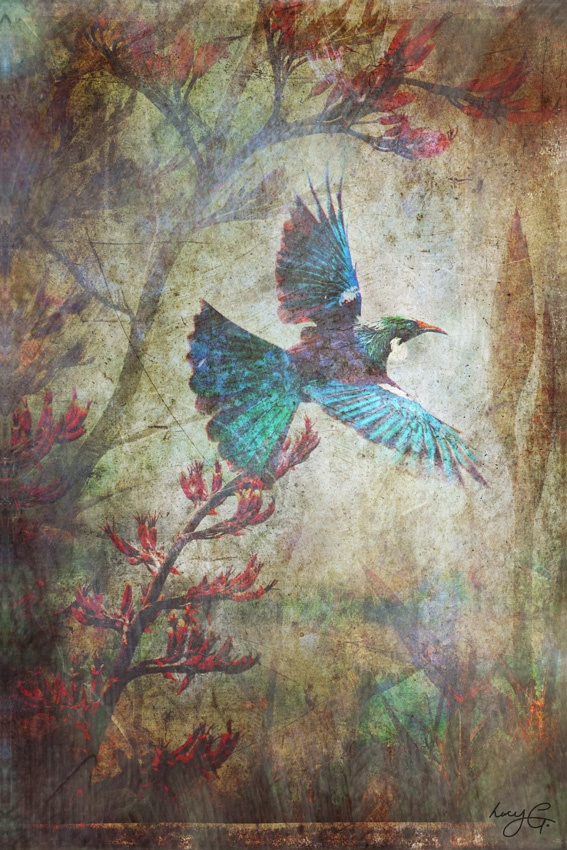 'As free as a bird...' by Lucy G from her Dreamscapes series, illustrating the beauty of the free spirit in an illusionary dream-like setting.