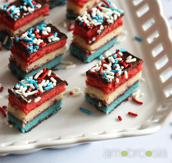 ambrosia: Red, White, and Blue Rainbow Cookies