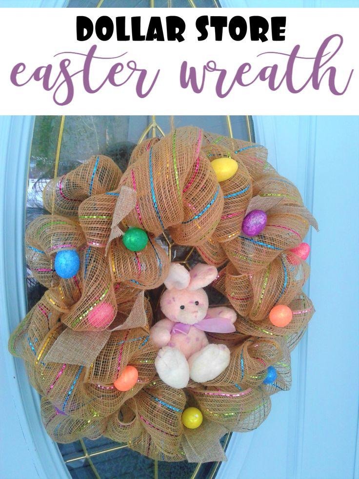 Dollar Store Easter deco mesh wreath