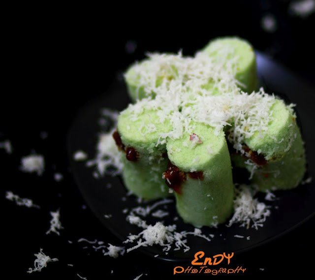 Delicious Indonesian cake with sprinkles of grated coconut