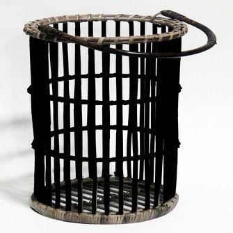 Windlicht rotan zwart 25x50 cm | Kaarsen & kaarsenhouders | Woonaccessoires | Woondecoratie | KARWEI