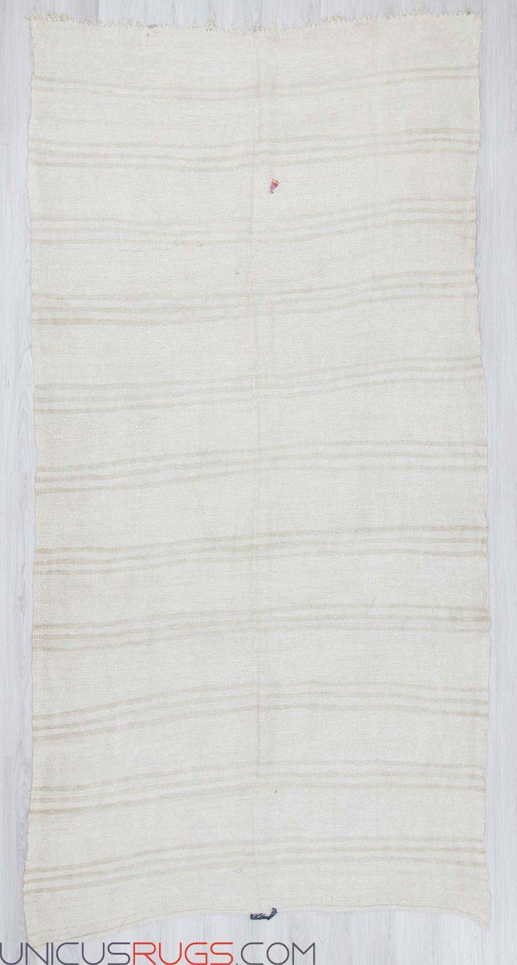"Vintage hemp kilim rug from Yozgat region of Turkey.İn good condition.Approximately 50-60 years old. Width: 6' 4"" - Length: 12' 2"" Hemp Kilims"
