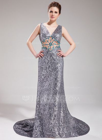 Prom Dresses - $168.99 - A-Line/Princess V-neck Court Train Tulle Sequined Prom Dress With Beading (018019069) http://jjshouse.com/A-Line-Princess-V-Neck-Court-Train-Tulle-Sequined-Prom-Dress-With-Beading-018019069-g19069