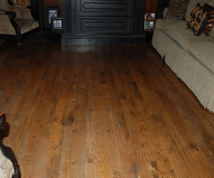 Mixture Of 5 Inch And 3 1 4 Inch Red Oak Flooring Handscraped With