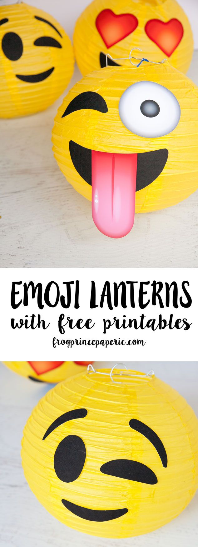 Make Emoji party lanterns in less than 5 minutes to decorate your birthday party! We'll even throw in the free printables to make them!