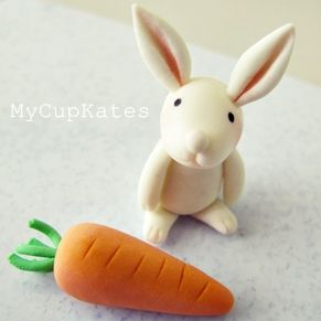Tutorial: How to make an Easter Bunny Rabbit Cake Topper in Fondant or Gum Paste