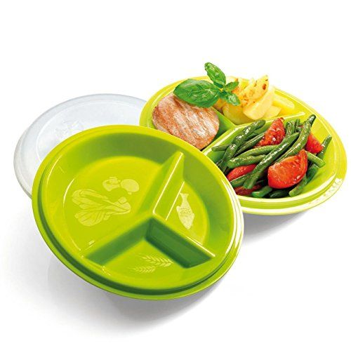 Precise Portions 2-Go Healthy Portion Control Plates, Pack of 2, BPA-Free, 3-Section Diet Plate with Leak-Proof Lids, Dishwasher & Microwave Safe, Helps Manage & Lose Weight, Metabolism & Blood Sugar