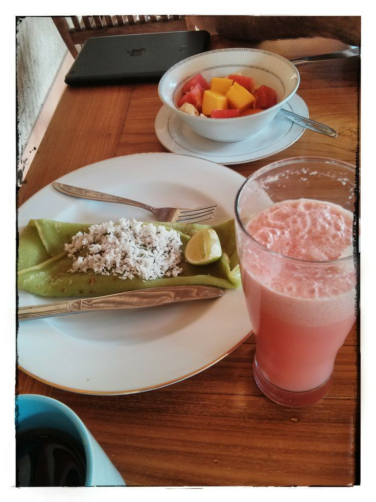 This is not unlike most breakfasts at hotels in Ubud but thought it warranted a pin anyway.  Pandan banana pancake with palm sugar and coconut, fruit salad and watermelon juice, from Ani's Villas.