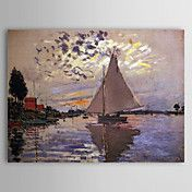 Famous Oil Painting A Sailboat at Le Petit-Ge... – AUD $ 109.79