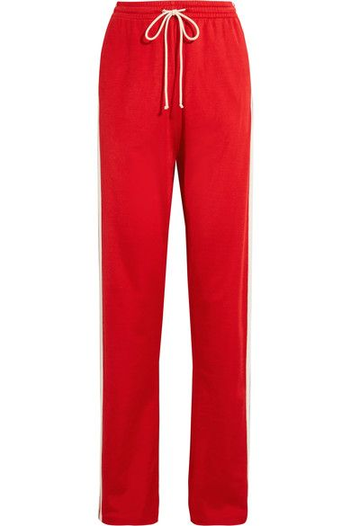 MM6 Maison Margiela - Paneled Stretch-jersey Track Pants - Red - x large