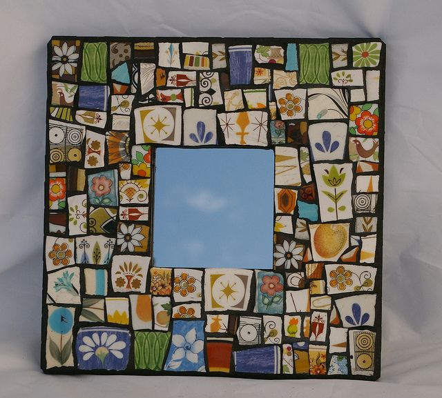 "Love this! ""Flowers and Such"", various broken plates, 10x10 Mirror #art #diy #craft #mirror #broken #mosaic"